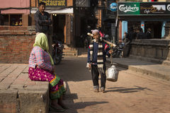 KATHMANDU, NEPAL - NOVEMBER 20: Unidentified man walking on colo Royalty Free Stock Photos