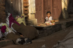 KATHMANDU, NEPAL - NOVEMBER 20: Unknown child on street of the D Royalty Free Stock Photography
