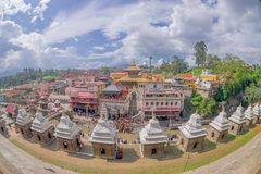 KATHMANDU, NEPAL OCTOBER 15, 2017: Beautiful landscape with some buildings where the Religious burning ritual at. Pashupatina temple happen, in Kthmandu Nepal Royalty Free Stock Photography