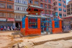 KATHMANDU, NEPAL OCTOBER 15, 2017: Close up of old buildings in dowtown of the city in Kathmandu, Nepal Royalty Free Stock Photography