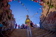 KATHMANDU, NEPAL OCTOBER 15, 2017: Stairs leading up to Swayambhu, an ancient religious architecture atop a hill west of Stock Photos