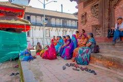 KATHMANDU, NEPAL AM 15. OKTOBER 2017: Ansicht im Freien von Ziegelsteinen mit beschädigte Gebäude nach dem Erdbeben im Jahre 2015 Stockfoto