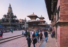 Kathmandu, Nepal - outubro 26,2018: O templo de Patan, quadrado de Patan Durbar é situado no centro de Lalitpur, Nepal É um do fotografia de stock royalty free