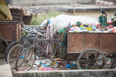KATHMANDU, NEPAL -  Pile of domestic garbage at landfills. Stock Photos