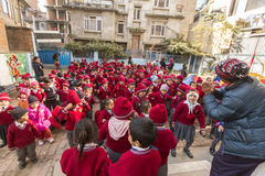 KATHMANDU, NEPAL -  pupils during dance lesson in primary school. Royalty Free Stock Image