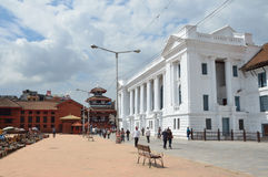 Kathmandu, Nepal, September, 27,2013, Nepali  Scene: People walking on ancient Bastinpur square near old Royal Palace Royalty Free Stock Photography