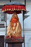 Kathmandu, Nepal, September, 27, 2013, Nepali-Szene: Der Affe-Gott - Hanuman schützt den Eingang zu alten Royal Palace Lizenzfreie Stockfotos