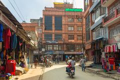 KATHMANDU, NEPAL - September 23, 2013: Thamel, commercial neighb royalty free stock image