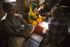 KATHMANDU, NEPAL -  students in lesson at Jagadguru School. Royalty Free Stock Photography