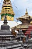 Kathmandu, Nepal,  the temple complex of Swayambhunath (monkey hill) Stock Photos