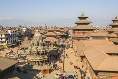KATHMANDU, NEPAL -  View of the Patan Durbar Square. Royalty Free Stock Photo