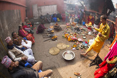 KATHMANDU - NOVEMBER 30: Traditional Ceremony in a Temple in Kat Stock Photos