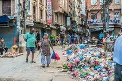 Kathmandu City Street with local People. KATHMANDU, - OCTOBER 05: Morning View of City Street with local People in Kathmandu, Nepal, October 05, 2017 Stock Photos