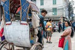 Kathmandu City Street with local People. KATHMANDU, - OCTOBER 05: Morning View of City Street with local People in Kathmandu, Nepal, October 05, 2017 Stock Image