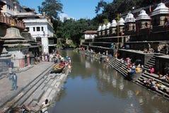 kathmandu pashupatinathtempel Fotografering för Bildbyråer