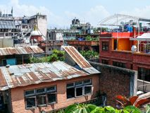 Kathmandu, Roofs of houses in Thamel Stock Photo
