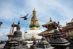 Kathmandu - Swayambhunath - Nepal. Swayambhunath in Kathmandu in Nepal - It is also known as the Monkey Temple as there are holy monkeys living in parts of the stock images