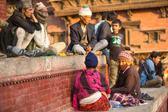 KATHMANDU, Unknown of local Nepalese people on the Old Durbar Square with pagodas. Largest city of Nepal Stock Image