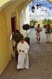 Katholiek de passagepanorama Santorini Griekenland van de Kathedraalkerk stock foto
