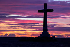 Katholiek dwarssilhouet stock afbeeldingen