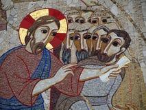 Katholieke kunstwerkmuurschildering stock afbeelding