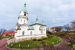 Katholieke orthodoxe kerk in Hakodate Stock Foto's