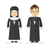 Katholieke priester en non stock illustratie