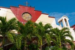 Katholische Kathedrale, Palmen Manila, Philippinen lizenzfreie stockfotos
