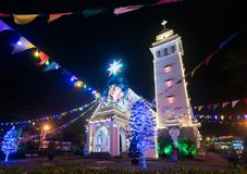 Katholische Kirche auf Weihnachten in Vietnam Lizenzfreies Stockfoto