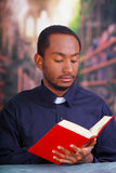 Katholischer Priester, der das traditionelle Hemd des kanzleimäßigen Kragens sitzt und hält Bibel beim Ablesen, Religionskonzept  Stockfotos