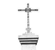 katholisches abstraktes heiliges Kreuz in Italien Europa und der Himmel Stockfotografie