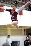 Kathryn Ho - split do feixe de balanço da ginástica do templo Fotografia de Stock Royalty Free