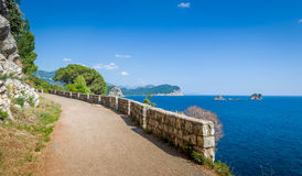 Katic and Holy Week islands from Petrovac walking Stock Image