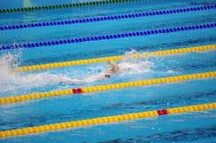 Katie Ledecky dans la piscine olympique à Rio2016 Images libres de droits