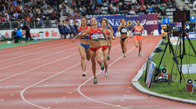 Katie Mackey from USA winning 1500 m. race. On DecaNation International Outdoor Games on September 13, 2015 in Paris, France royalty free stock photo