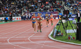 Katie Mackey from USA winning 1500 m. race. On DecaNation International Outdoor Games on September 13, 2015 in Paris, France royalty free stock photos