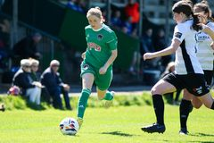 Katie McCarthy at the Women`s National League game: Cork City FC vs Galway WFC. May 12th, 2019, Cork, Ireland - Katie McCarthy at the Women`s National League royalty free stock photography