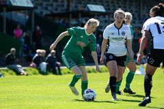 Katie McCarthy at the Women`s National League game: Cork City FC vs Galway WFC. May 12th, 2019, Cork, Ireland - Katie McCarthy at the Women`s National League royalty free stock photos