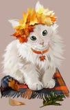 Katje in de herfst het schilderen stock illustratie