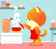 Katje in de keuken Stock Foto's