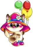 Katje in een hoed en schoenen met ballen. Royalty-vrije Stock Foto's