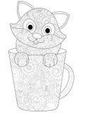 Katje in een kop het kleuren vector voor volwassenen Stock Afbeelding