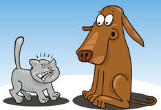 Katje en hond Royalty-vrije Stock Fotografie