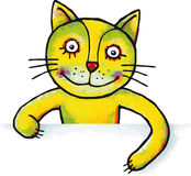 Katje met aanplakbiljet of banner voor uw tekst Stock Foto's
