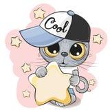 Katje met een ster op een sterrenachtergrond royalty-vrije illustratie