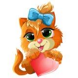 Katje met hart stock illustratie