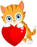 Katje met hartvalentijnskaart Stock Afbeelding