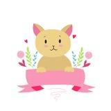 Katje met lint Royalty-vrije Stock Foto