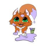 Katje met verf Royalty-vrije Stock Afbeeldingen