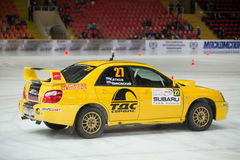Katkov and Tchaikovsky in racing car on ice Royalty Free Stock Photography